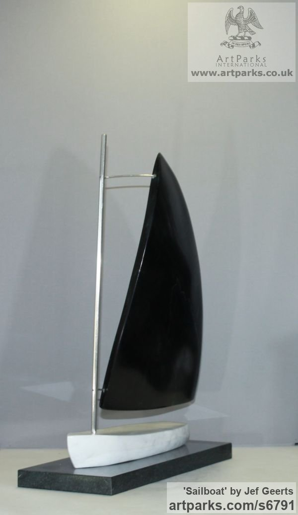 Marble,galastone,stainless steel Monumental Contemporary Abstract Modern sculpture by sculptor Jef Geerts titled: 'Sailboat (Carved stone and Steel Vessel sculpture/statue/statuette)'