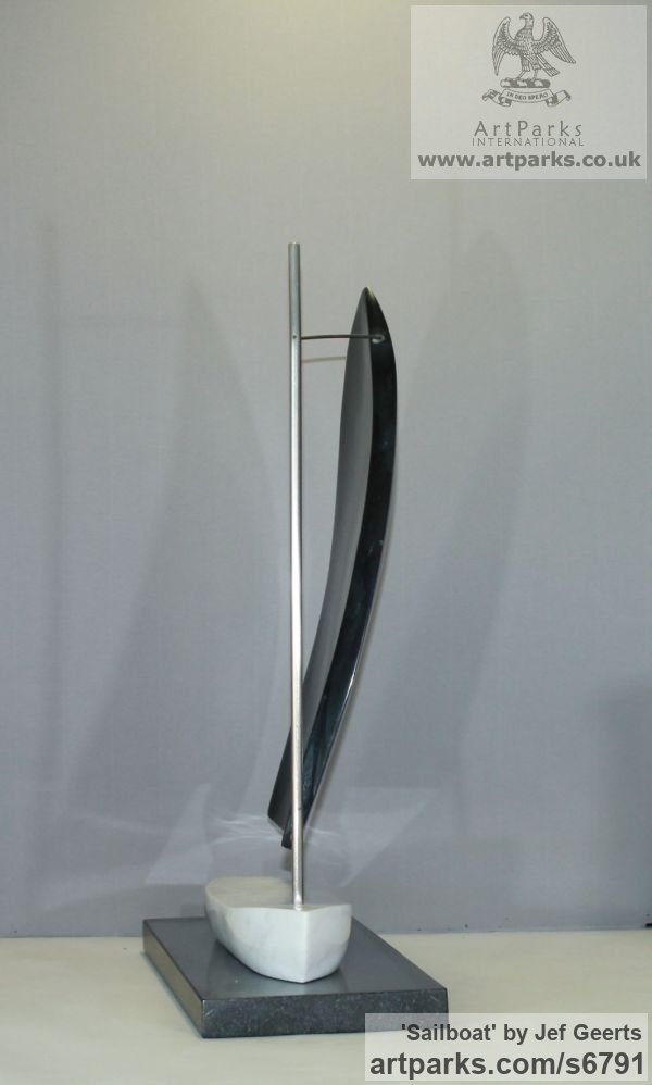 Marble,galastone,stainless steel Monumental Contemporary Abstract Modern sculpture by sculptor Jef Geerts titled: 'Sailboat (Carved stone and Steel Vessel sculpture/statue/statuette)' - Artwork View 3