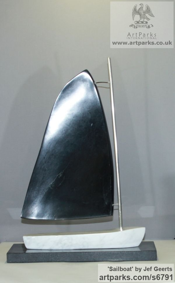 Marble,galastone,stainless steel Monumental Contemporary Abstract Modern sculpture by sculptor Jef Geerts titled: 'Sailboat (Carved stone and Steel Vessel sculpture/statue/statuette)' - Artwork View 4