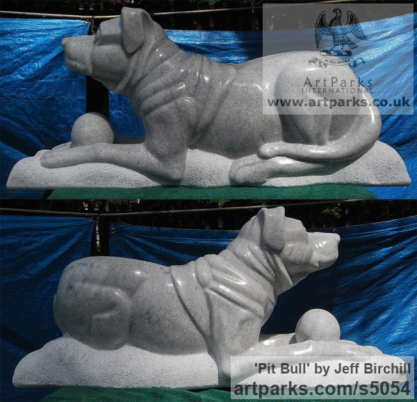 Georgia Marble Dogs sculpture by sculptor Jeff Birchill titled: 'Pit Bull'