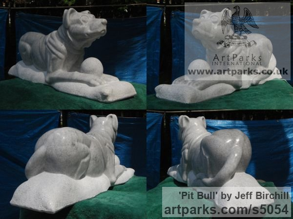 Georgia Marble Dogs sculpture by sculptor Jeff Birchill titled: 'Pit Bull' - Artwork View 2