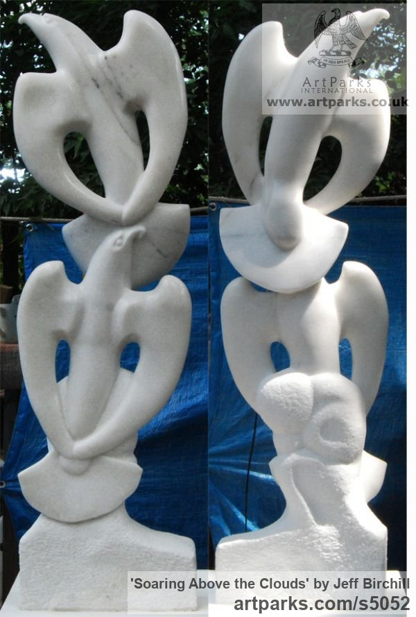 Georgia Marble Garden Or Yard / Outside and Outdoor sculpture by sculptor Jeff Birchill titled: 'Soaring Above the Clouds (Birds Stylised Carved marble)' - Artwork View 1