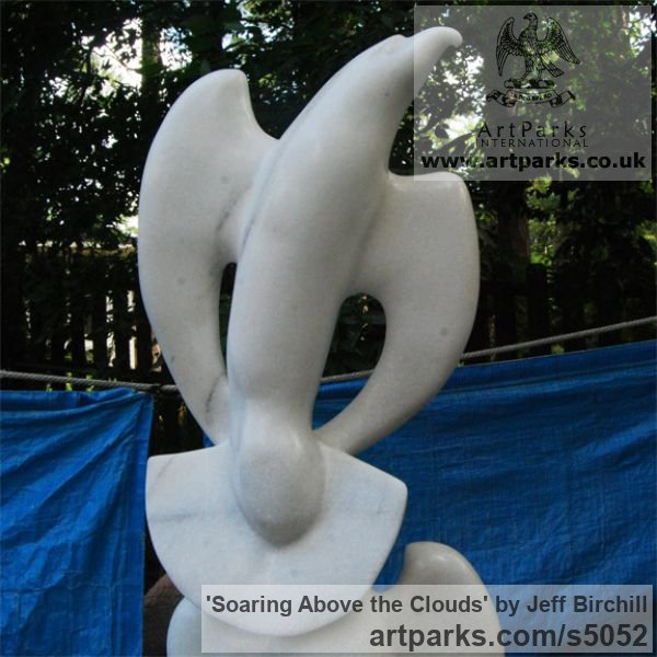 Georgia Marble Garden Or Yard / Outside and Outdoor sculpture by sculptor Jeff Birchill titled: 'Soaring Above the Clouds (Birds Stylised Carved marble)' - Artwork View 2