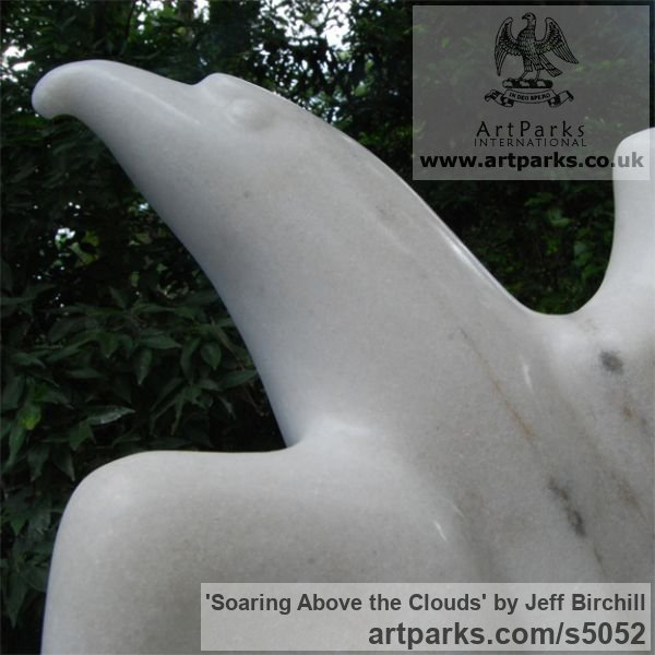 Georgia marble Birds Sculptures or statue by artist Jeff Birchill titled: 'Soaring Above the Clouds' - Artwork View 3