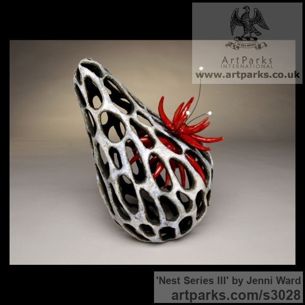 Ceramic Marine Maritime Water Sea sculpture statuette sculpture by sculptor Jenni Ward titled: 'Nest Series III (Small abstract Organic Indoor sculpture)'