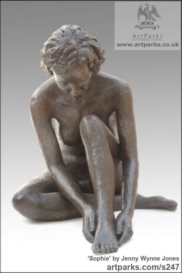 Copper Resin Garden Or Yard / Outside and Outdoor sculpture by sculptor Jenny Wynne Jones titled: 'Sophie (nude Girl Sitting Outside Outdoor statues)' - Artwork View 2