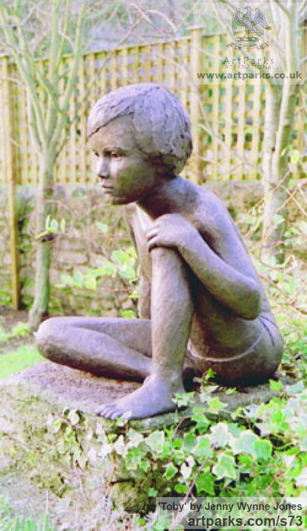 Resin bronze Garden Or Yard / Outside and Outdoor sculpture by sculptor Jenny Wynne Jones titled: 'Toby (Boy Sitting Thinking Yard garden sculpture)' - Artwork View 3