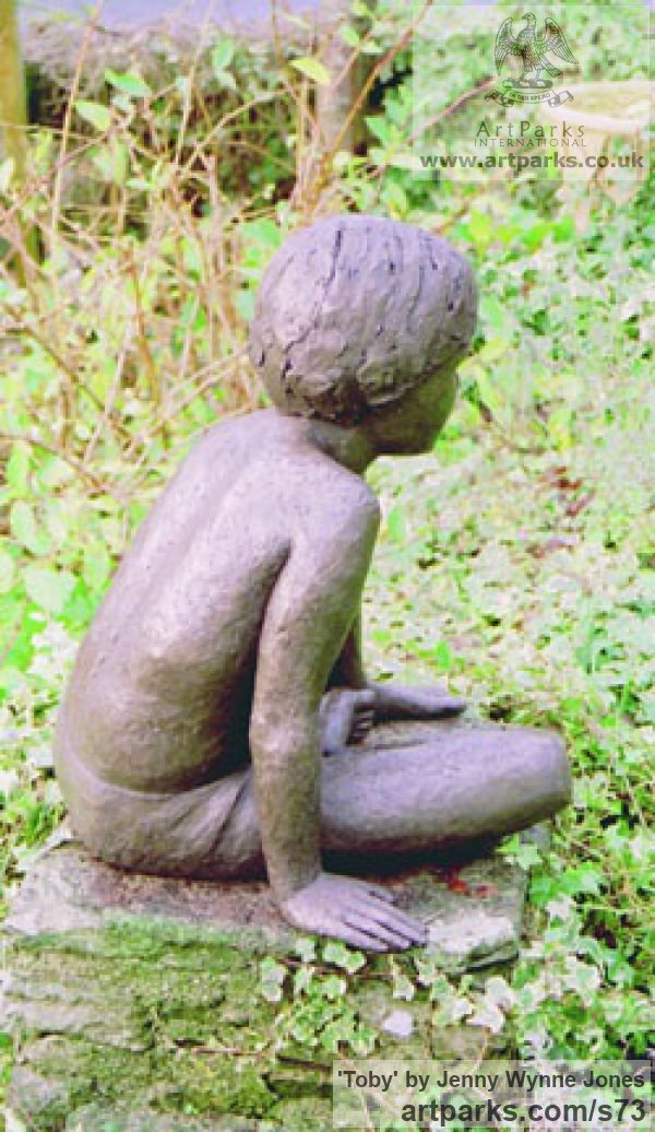 Resin bronze Garden Or Yard / Outside and Outdoor sculpture by sculptor Jenny Wynne Jones titled: 'Toby (Boy Sitting Thinking Yard garden sculpture)' - Artwork View 4
