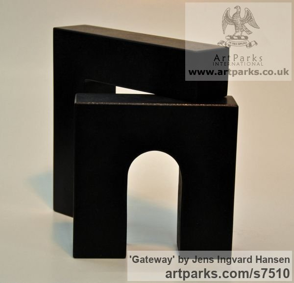 Diabase Carved Abstract Contemporary Modern sculpture carving sculpture by sculptor Jens Ingvard Hansen titled: 'Gateway (Little Indoor stone Architectural statue)' - Artwork View 2