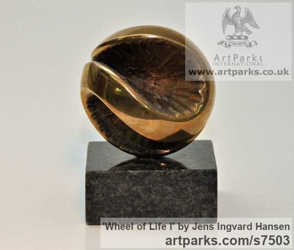 Bronze and granite Tabletop Desktop Small Indoor Statuettes Figurines sculpture by sculptor Jens Ingvard Hansen titled: 'Wheel of Life I (Round Ball abstract statue)'