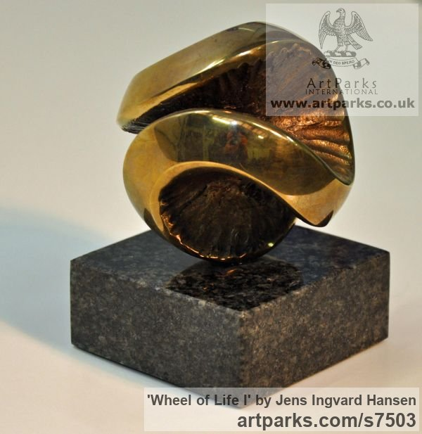 Bronze and granite Tabletop Desktop Small Indoor Statuettes Figurines sculpture by sculptor Jens Ingvard Hansen titled: 'Wheel of Life I (Round Ball abstract statue)' - Artwork View 2