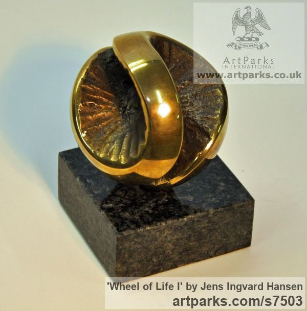 Bronze and granite Tabletop Desktop Small Indoor Statuettes Figurines sculpture by sculptor Jens Ingvard Hansen titled: 'Wheel of Life I (Round Ball abstract statue)' - Artwork View 3