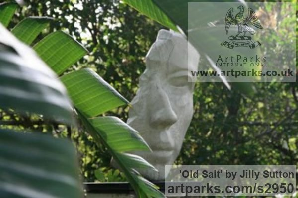 Cast Olive Stone from Wood Garden Or Yard / Outside and Outdoor sculpture by sculptor Jilly Sutton titled: 'Old Salt (Cast Carved Sailors Head/Face sculptures/statue/statuette)' - Artwork View 1