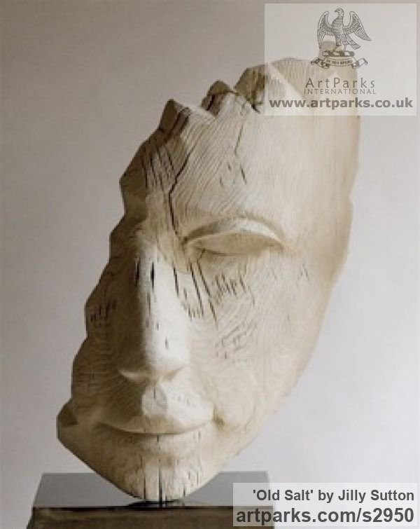Cast Olive Stone from Wood Garden Or Yard / Outside and Outdoor sculpture by sculptor Jilly Sutton titled: 'Old Salt (Cast Carved Sailors Head/Face sculptures/statue/statuette)' - Artwork View 4