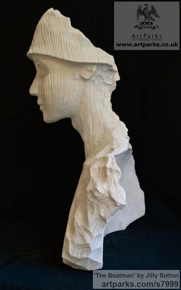 Original Wood Portrait Sculptures / Commission or Bespoke or Customised sculpture by sculptor Jilly Sutton titled: 'The Boatman (Carved Larger than Lifesize Wooden Bust)' - Artwork View 4