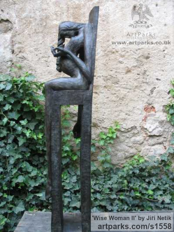 Bronze Garden Or Yard / Outside and Outdoor sculpture by sculptor Jiří Netík titled: 'Wise Woman (Naked Seated Pregnant Girl sculpture)' - Artwork View 1