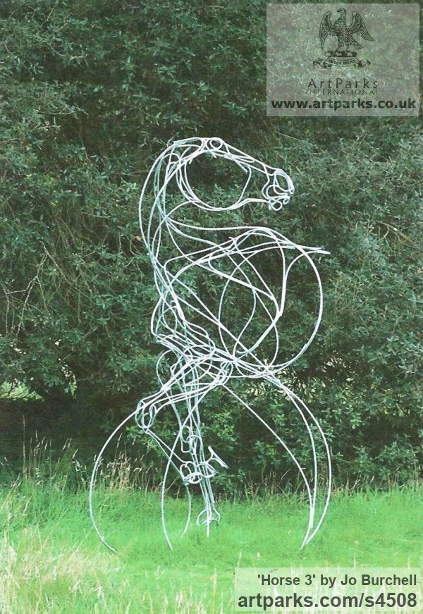 Galvanished Steel Horse Sculpture / Equines Race Horses Pack HorseCart Horses Plough Horsess sculpture by sculptor Jo Burchell titled: 'Horse 3 (Metal Wire Horse Stead or Mount sculptures)' - Artwork View 1