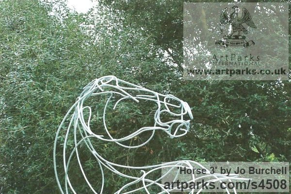 Galvanished Steel Horse Sculpture / Equines Race Horses Pack HorseCart Horses Plough Horsess sculpture by sculptor Jo Burchell titled: 'Horse 3 (Metal Wire Horse Stead or Mount sculptures)' - Artwork View 2