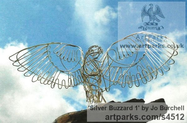 Sterling Silver Wire on oiled wood Varietal Mix of Bird Sculptures or sculpture by sculptor Jo Burchell titled: 'Silver Buzzard 1 (Sterling Silver Wire Bird of Prey Raptor statue)'