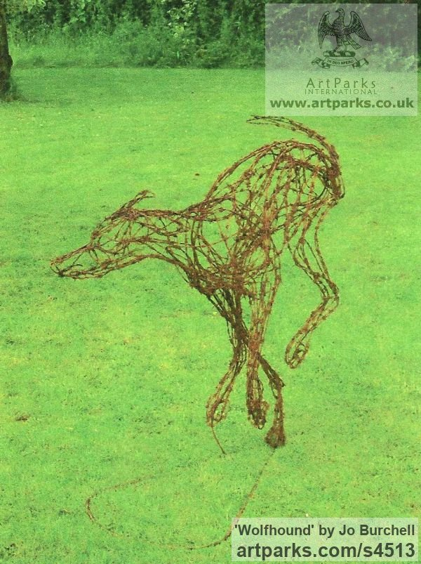 Rusted Barbed Wire and Steel Dogs sculpture by sculptor Jo Burchell titled: 'Wolfhound (Wire Semi abstract life size Dog garden sculpture)' - Artwork View 1