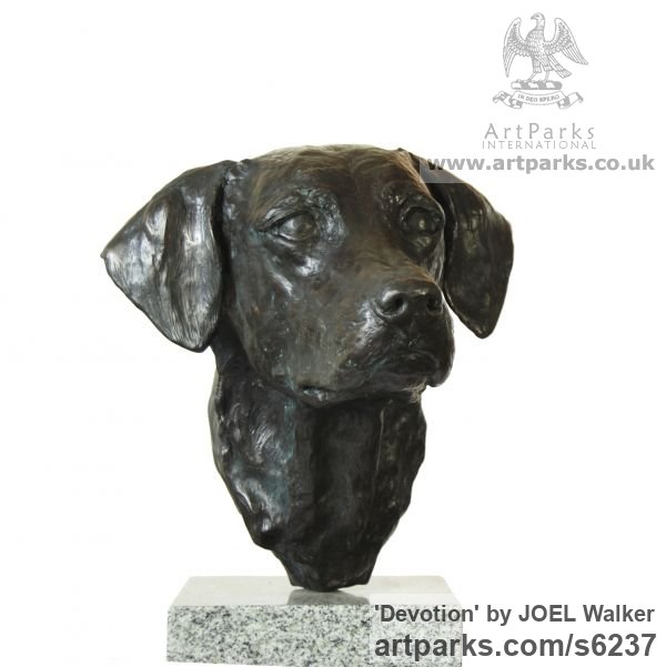 Bronze Dogs sculpture by sculptor JOEL Walker titled: 'Devotion (Bronze Working Labrador Puooy Head statues)'