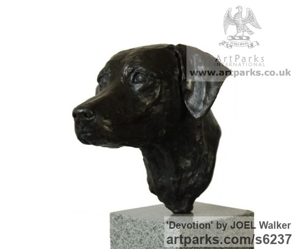 Bronze Dogs sculpture by sculptor JOEL Walker titled: 'Devotion (Bronze Working Labrador Puooy Head statues)' - Artwork View 2