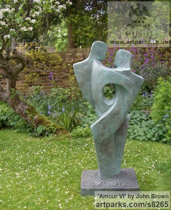 Bronze Resin Garden Or Yard / Outside and Outdoor sculpture by sculptor John Brown titled: '`Amour VI` (abstract Couple Lovers garden sculpture)' - Artwork View 2