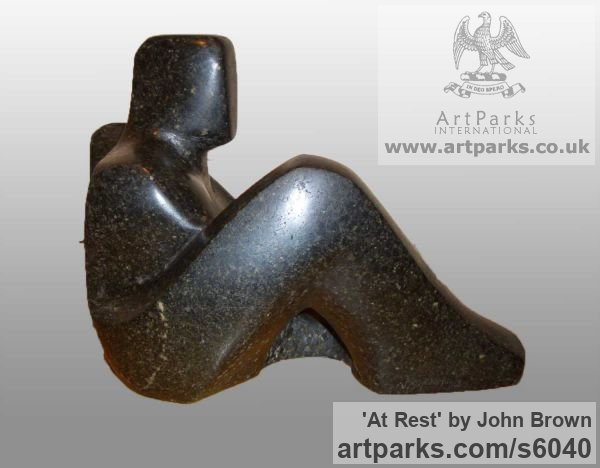 Stone Carved Abstract Contemporary Modern sculpture carving sculpture by sculptor John Brown titled: 'At Rest (Carved stone Semi abstract Man Resting statues)' - Artwork View 4