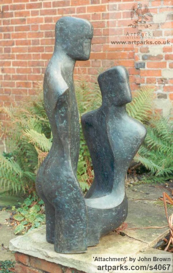 Bronze Resin Parent - Child sculpture by sculptor John Brown titled: 'Attachment (COUPLES Bronze resin Contemporary statue/sculpture)'