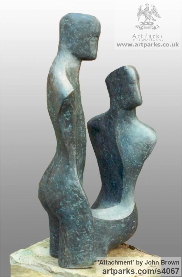 Bronze Resin Parent - Child sculpture by sculptor John Brown titled: 'Attachment (COUPLES Bronze resin Contemporary statue/sculpture)' - Artwork View 2