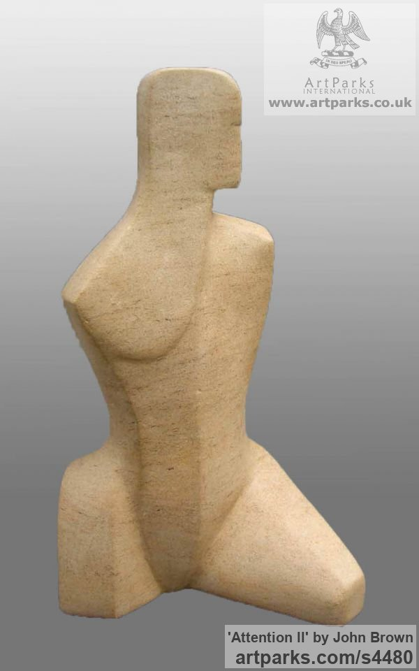 Ancaster Stone Carved Abstract Contemporary Modern sculpture carving sculpture by sculptor John Brown titled: 'Attention ll (Small/Little abstract Carved stone TorsoFigurine/statue)'