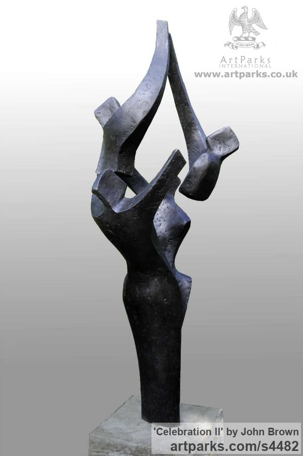 Bronze Resin Happiness / Joy / Exuberance / Wild Pleasure sculpture by sculptor John Brown titled: 'Celebration ll (Contemporary Family Reunion sculpture)' - Artwork View 2