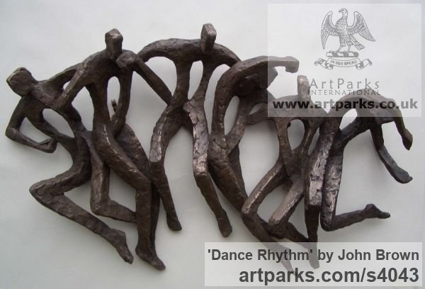 Bronze Resin Wall Mounted or Wall Hanging sculpture by sculptor John Brown titled: 'Dance Rhythm (abstract figurative group sculptures)'