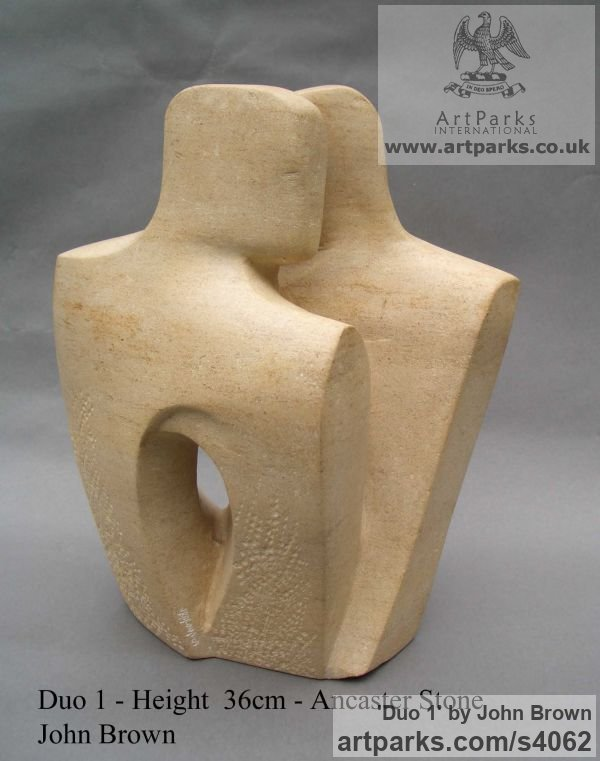 Ancaster Stone Figurative Abstract Modern or Contemporary sculpture statuary statuettes figurines sculpture by sculptor John Brown titled: 'Duo 1 (stone lovers modern abstract statues)' - Artwork View 2