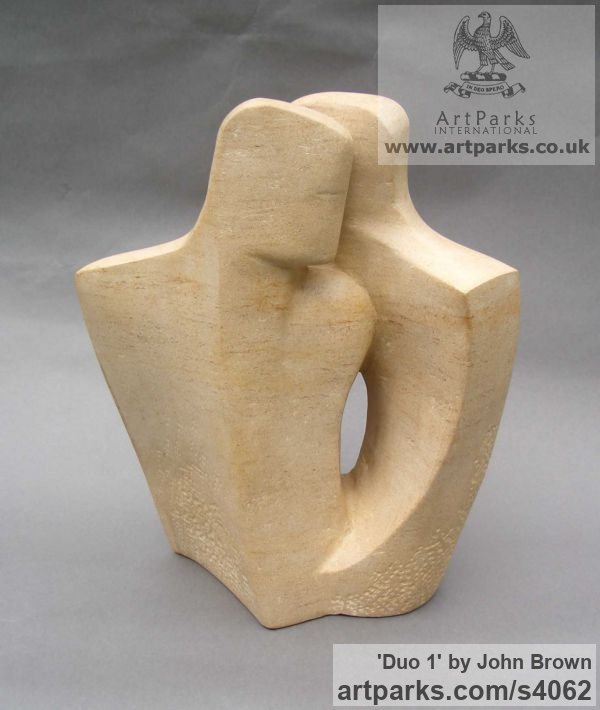 Ancaster Stone Figurative Abstract Modern or Contemporary sculpture statuary statuettes figurines sculpture by sculptor John Brown titled: 'Duo 1 (stone lovers modern abstract statues)'