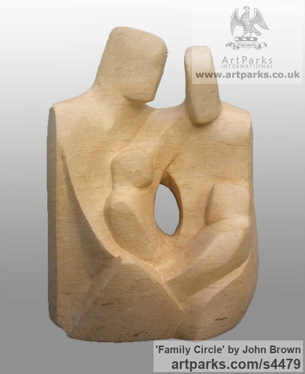 Ancaster Stone Parent - Child sculpture by sculptor John Brown titled: 'Family Circle' - Artwork View 1