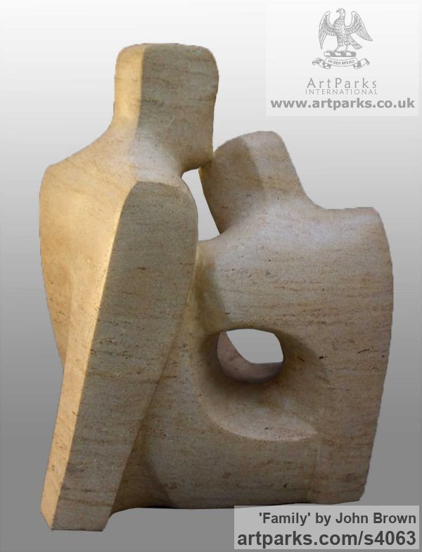 Ancaster Stone Parent - Child sculpture by sculptor John Brown titled: 'Family' - Artwork View 2