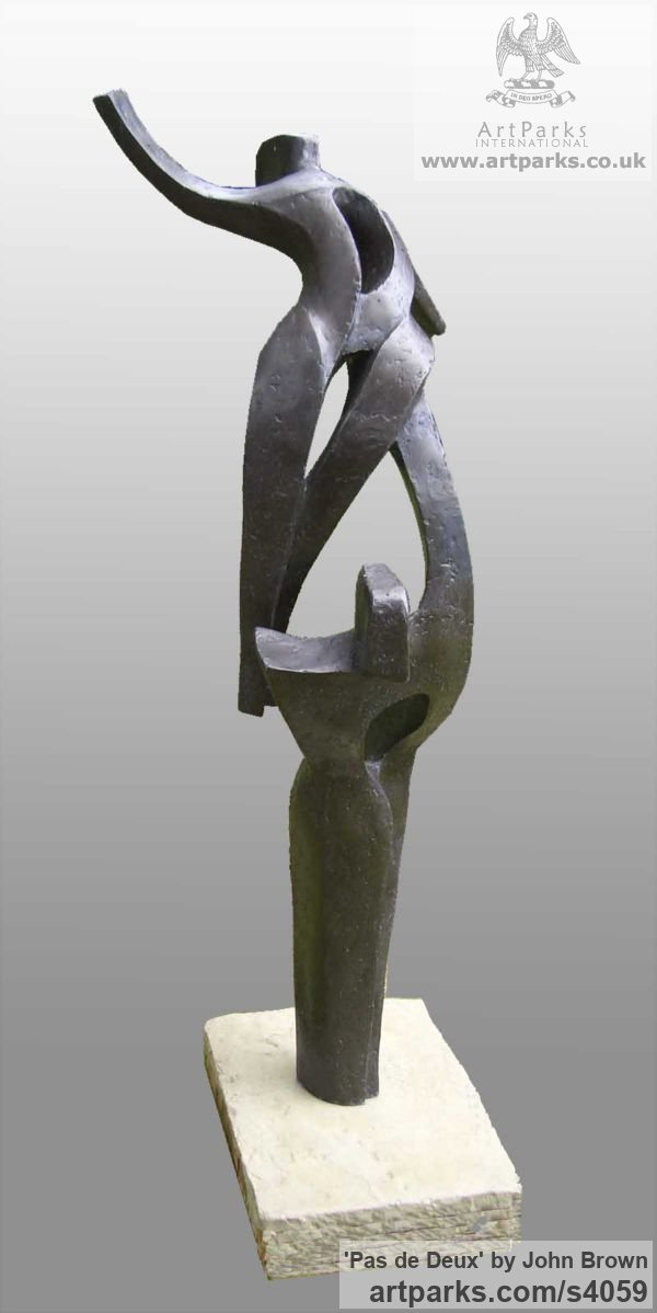Bronze Resin Garden Or Yard / Outside and Outdoor sculpture by sculptor John Brown titled: 'Pas de Deux (Ballet Dancers abstract garden statues)' - Artwork View 2