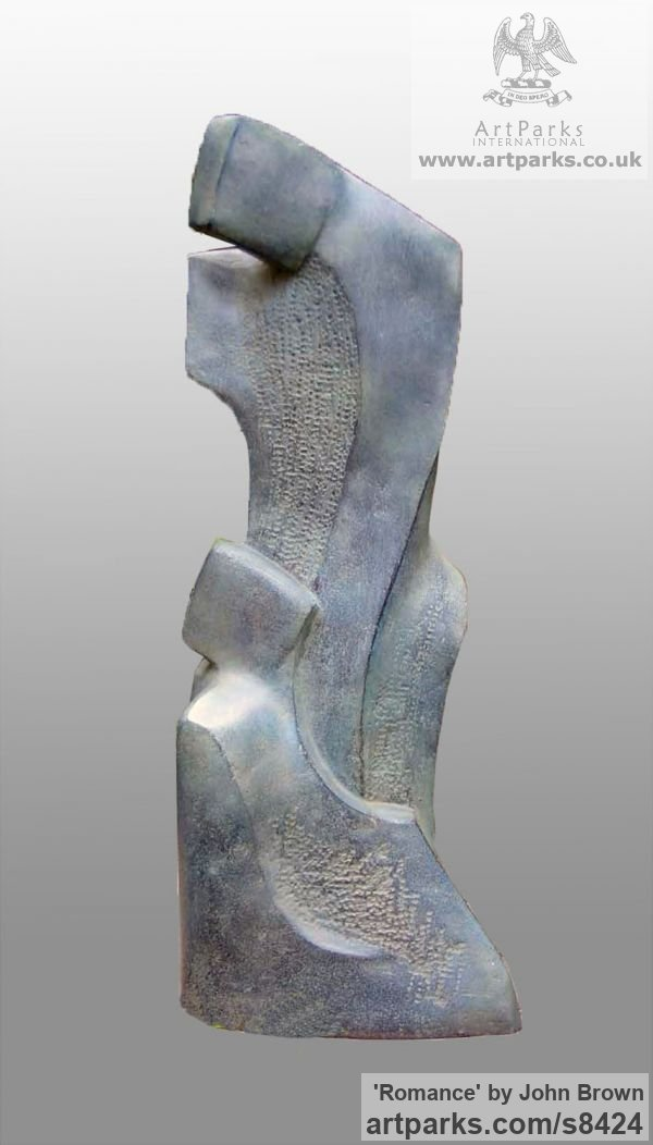 Bronze Resin Garden Or Yard / Outside and Outdoor sculpture by sculptor John Brown titled: 'Romance (Contemporary abstract Lovers garden sculpture)' - Artwork View 1