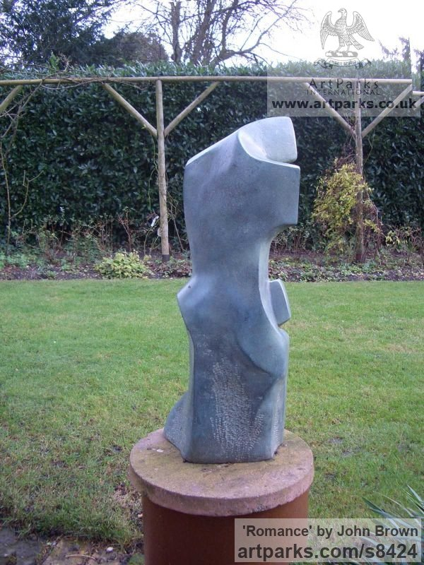 Bronze Resin Garden Or Yard / Outside and Outdoor sculpture by sculptor John Brown titled: 'Romance (Contemporary abstract Lovers garden sculpture)' - Artwork View 3