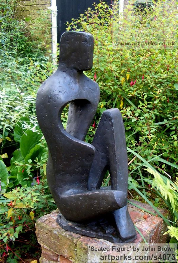 Bronze Resin Abstract Contemporary Modern Outdoor Outside Garden / Yard sculpture statuary sculpture by sculptor John Brown titled: 'Seated Figure (Stylised figurative abstract statues)' - Artwork View 1