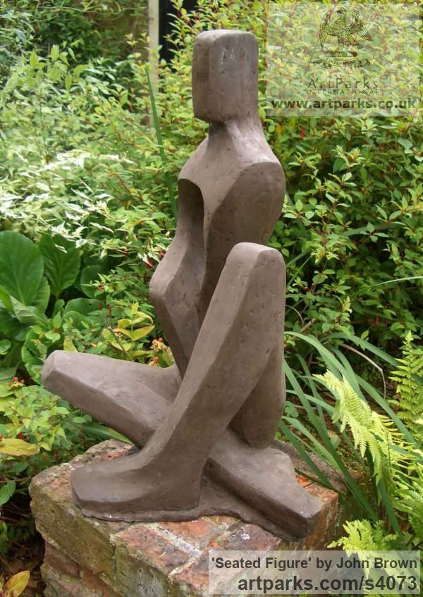 Bronze Resin Abstract Contemporary Modern Outdoor Outside Garden / Yard sculpture statuary sculpture by sculptor John Brown titled: 'Seated Figure (Stylised figurative abstract statues)' - Artwork View 2