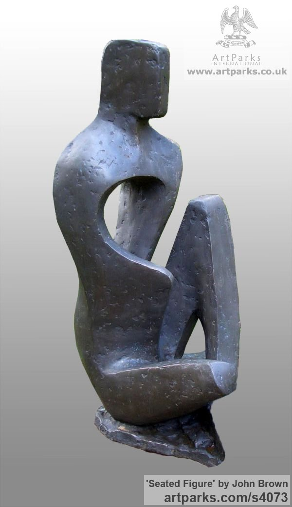 Bronze Resin Abstract Contemporary Modern Outdoor Outside Garden / Yard sculpture statuary sculpture by sculptor John Brown titled: 'Seated Figure (Stylised figurative abstract statues)' - Artwork View 3