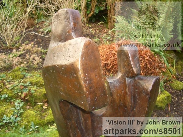 Bronze Resin Abstract Contemporary or Modern Outdoor Outside Exterior Garden / Yard sculpture statuary sculpture by sculptor John Brown titled: '`Vision lll` (Contemporary figurative garden sculpture)' - Artwork View 4