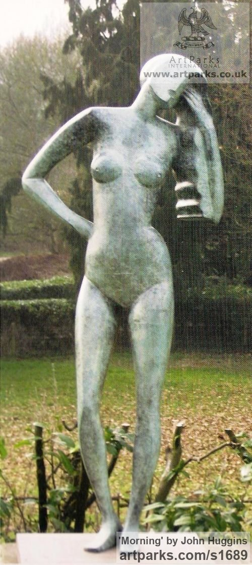 Bronze Garden Or Yard / Outside and Outdoor sculpture by sculptor John Huggins titled: 'Morning (Contemporary Arte Deco Standing garden statue)'