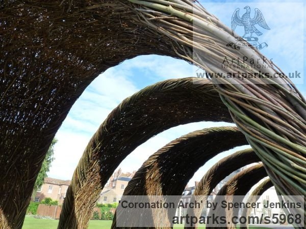 Willow (on steel) Garden Or Yard / Outside and Outdoor sculpture by sculptor Spencer Jenkins titled: 'Coronation Arch (Giant Woven Willow Arch statues)' - Artwork View 2