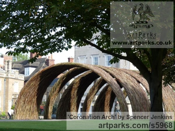 Willow (on steel) Garden Or Yard / Outside and Outdoor sculpture by sculptor Spencer Jenkins titled: 'Coronation Arch (Giant Woven Willow Arch statues)' - Artwork View 3