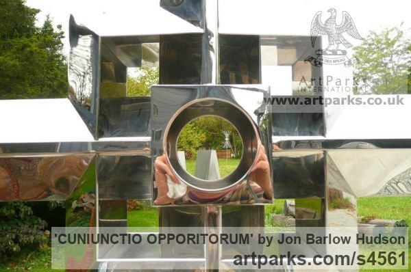 Stainless Steel Garden Or Yard / Outside and Outdoor sculpture by sculptor Jon Barlow Hudson titled: 'CUNIUNCTIO OPPORITORUM (Contemporary stainless Steel Cross)' - Artwork View 1