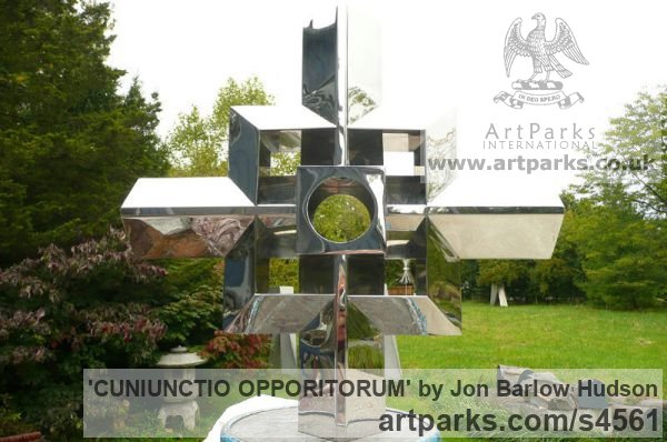Stainless Steel Garden Or Yard / Outside and Outdoor sculpture by sculptor Jon Barlow Hudson titled: 'CUNIUNCTIO OPPORITORUM (Contemporary stainless Steel Cross)' - Artwork View 2