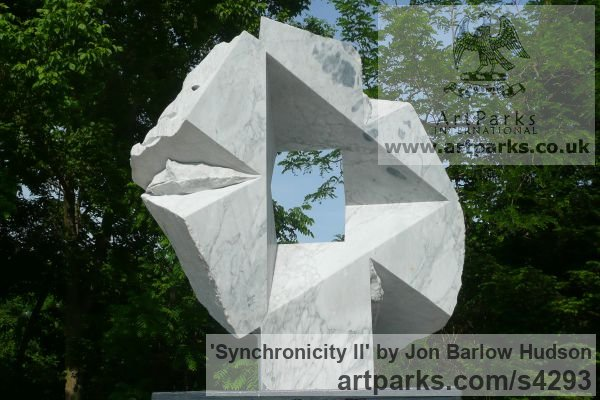 Carrara Medielle Marble Garden Or Yard / Outside and Outdoor sculpture by sculptor Jon Barlow Hudson titled: 'Synchronicity II (Modern abstract Architectural stone statue Symmetric)' - Artwork View 1